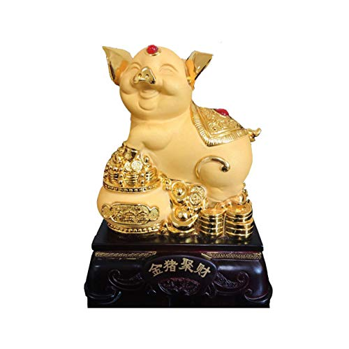 (TTFAING Feng Shui Gold Pig Year Golden Pig Resin Collectible Figurines Table Decor Statue 2019 Chinese Zodiac Lucky Wealth for Home Office)