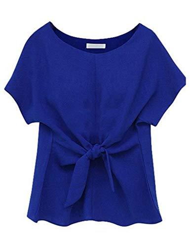 Tshirts Shirts Rond Office Unie Chic Elgante Large Mode T Bowknot Costume Et Col Jeune Blau Courtes Tops Shirts Bandage Femme Couleur Manches 46Rxww