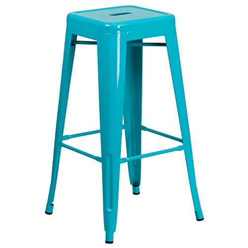 Flash Furniture 30'' High Backless Crystal Teal-Blue Indoor-Outdoor Barstool (30 Outdoor Bar Stools)