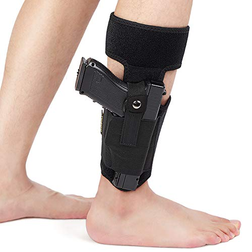 Yosoo Health Gear Ankle Holster Concealed Carry, Non-Slip Holster Magazine Pouch Adjustable Calf Straps Fits Glock 43 27 19 26, S&W Bodyguard 380, Ruger LCP, LC9