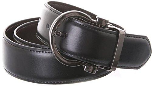 Dress Belt For Men's Genuine Italian Leather Reversible - Stylish Gold Buckle (S (28-30), Gun)