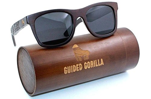 Guided Gorilla Bamboo Sunglasses- Floating 100% Polarized Wayfarer Sunglasses + - Sunglasses 4est