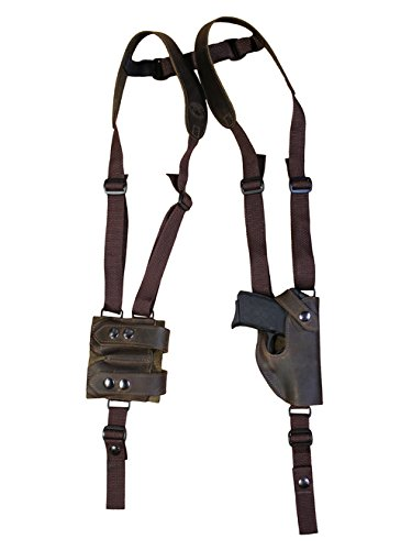 Barsony New Brown Leather Vertical Shoulder Holster w/Dbl Mag Pouch for Bersa Thunder 380 32 - Shoulder 32 Holster