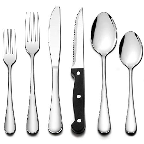 Wildone 24-Piece Flatware Set with Steak Knives, Stainless Steel Silverware Cutlery Set Service for 4, Tableware Eating…