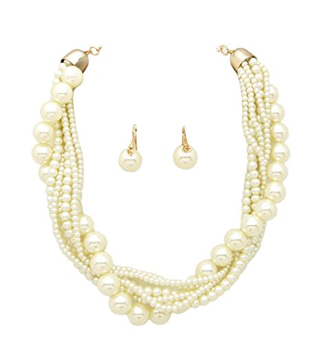 - Fashion 21 Women's Twisted Multi-Strand Simulated Pearl Statement Necklace and Earrings Set (Cream Tone)