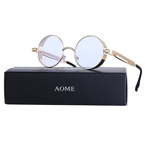 AOME Gothic Steampunk Round Sunglasses Metal Frame Mirrored Circle Lens Glasses (Gold&Clear, 1.9) (Frame Gold Circle)