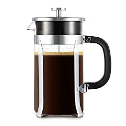 French Press - Zestkit French Press Coffee Maker 34 oz Coffee and Tea Press with Stainless Steel & Heat-Resistant Borosilicate Glass, 2 Extra Mesh Filters and Coffee Spoon Included by Zestkit
