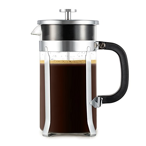 Zestkit French Press Coffee Maker, 34 oz Coffee and Tea Press Maker with 4 Filter Screens, Stainless Steel Coffee Press & Heat-Resistant Borosilicate Glass