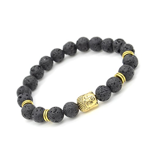 MILAKOO Lava Rock Bracelet with Gold Plated Buddha for Men & Women 8mm Beaded Elastic - Gold Beaded Bead Plated