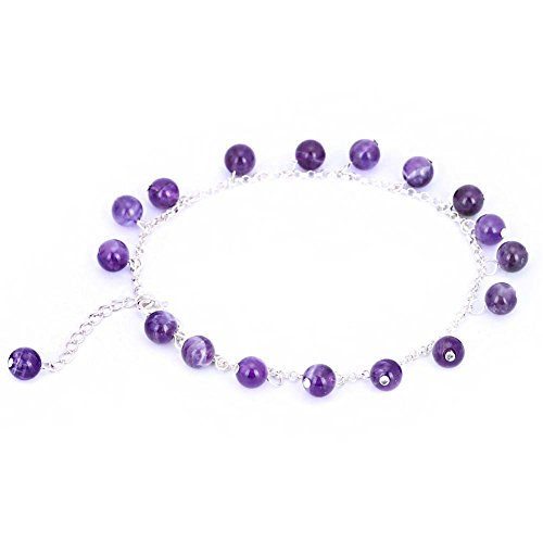 Stunning 6mm Round Amethyst 925 Sterling Silver Anklet with 1