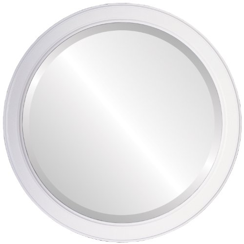 Round Beveled Wall Mirror for Home Decor - Toronto Style - Linen White - 16x16 outside dimensions