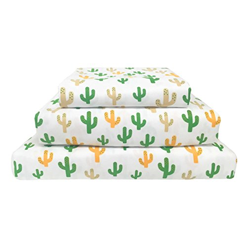 Beco Industries Wild West Cactus Print Polyester Sheet Set White/Grey/Green/Gold 3 Piece Twin