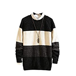 Men's Knit  Fall Winter Plus-Size O-Neck Pullover Blouse Top