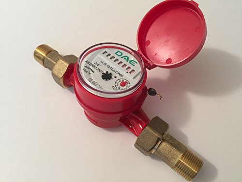 "DAE AS200U-75R 3/4"" Hot Water Meter, Measuring in Gallon + Couplings"