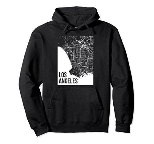 Unisex Los Angeles Southern California Area Map Hoodie 2XL Black (California Southern Hoodie)