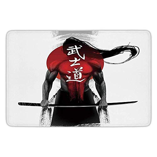 K0k2t0 Bathroom Bath Rug Kitchen Floor Mat Carpet,Japanese,Samurai Warrior Figure Sunburst Background Ronin Japan Indigenous War Theme,Red Black White,Flannel Microfiber Non-Slip Soft Absorbent