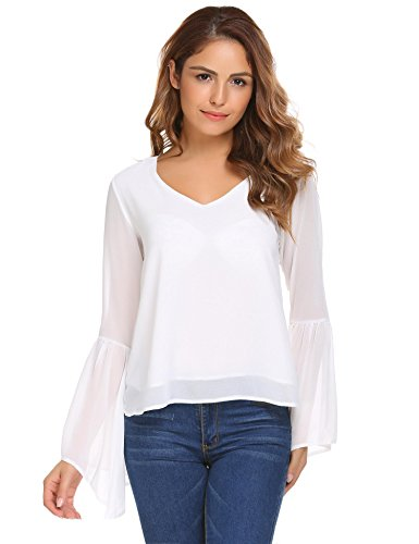 Unibelle Women Ruffle Bell Sleeve V Neck Chiffon Shirt Blouse Casual Ladies Tops - White / (Bell Skirt)