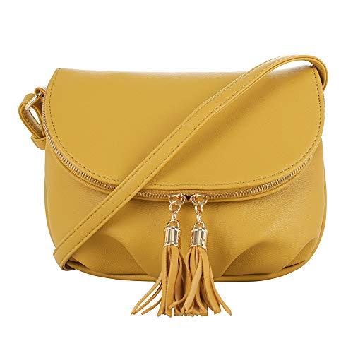 EMPERIA Women's Front Flap Small Messenger Crossbody Bag Zipper Clossure with Tassel Mustard ()