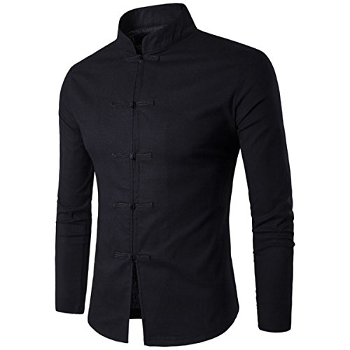 Men's Stand Collar Long Sleeve Slim Fit Black Chinese Style Tang Suit Shirts(S(TAG:L),Black)