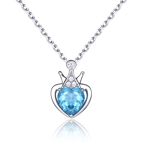 EL UNO 925 Sterling Silver Swiss Blue Topaz Love Heart Pendant Necklace for Women (925 Sterling Silver Swiss)