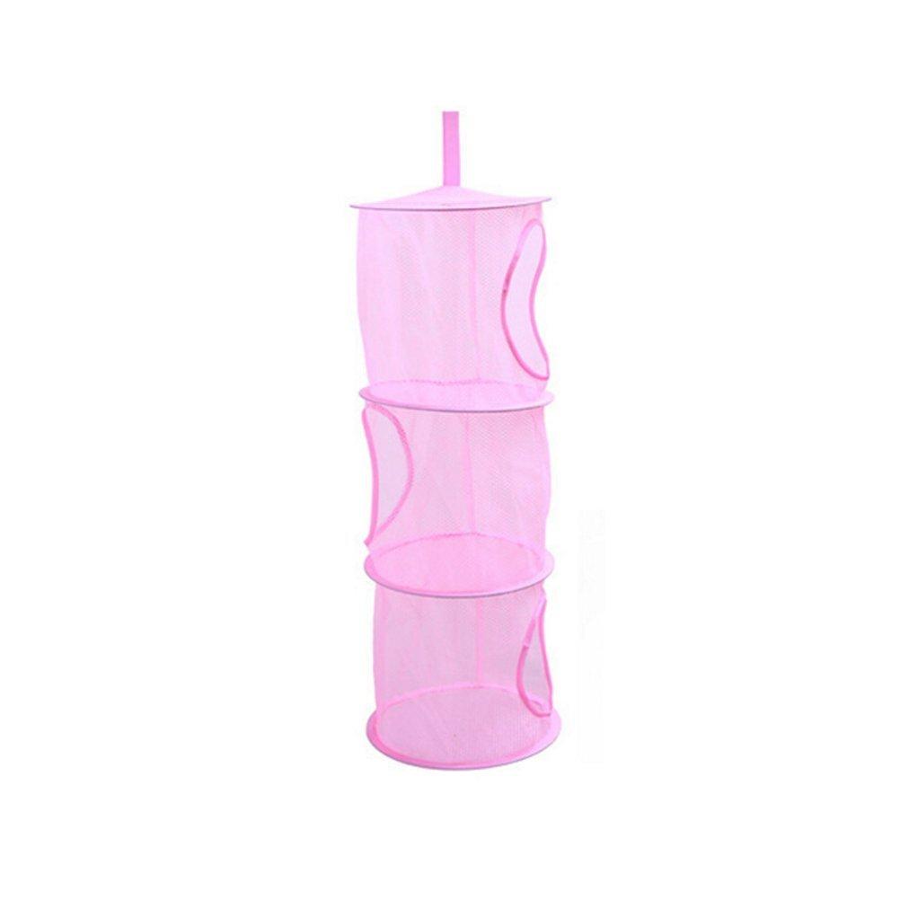 ounona colgante de malla bolsas de ahorro de espacio organizador 3compartimentos Caja de juguete y de almacenamiento cesta para habitación infantil (rosa) NWKTHFFB720