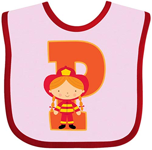 (Inktastic - Firefighter Letter P Monogram Fire Girl Baby Bib Pink and Red)