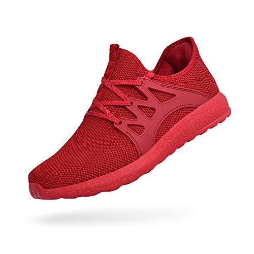 (QANSI Mens Sneakers Flyknit Breathable Lightweight Athletic Running Walking Gym Shoes Casual Outdoor Red/White Size)