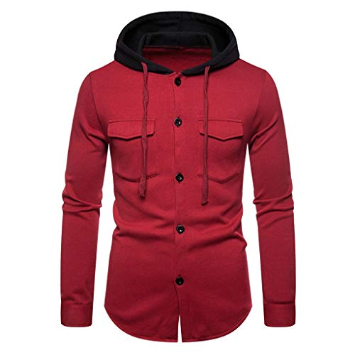 iHHAPY Men's Jackets Sweat Jacket 2019 Autumn Winter Leisure Drawstring Hooded Pullover Sportswear Hoodie Quilted Jacket ()
