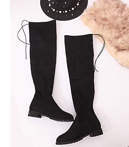 Otoño Tamaño Fuweiencore Zapatos Elegantes De Negro 43 Cuña Delgado Sobre Botas Mujer Moda Black Rodilla Hebilla Eu La Planos Tacón color FqFx5T6wrn
