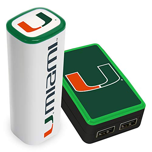 QuikVolt Miami Hurricanes WP-200X Wall Charger / 2200JX Mobile Charger Pack (Miami Phone Charger Hurricanes)