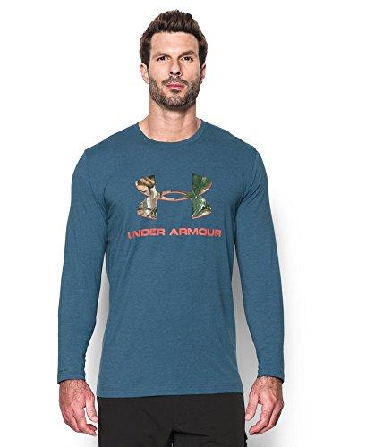 Under Armour Men's Camo Fill Logo LS T-Shirt, Slate Blue/Volcano, (Blue Logo Cotton T-shirt)