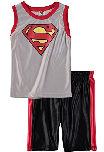 Superhero Boys' Batman Superman Spiderman Tank Top Short Set (Superman/Grey, 4T) -