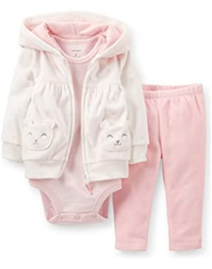 Carters Infant Girls 3 Piece Set Pink Dot Kitty Cat Hoodie Leggings & Shirt