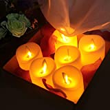 OMGAI 6pcs LED Swing Wick Candles with Timer Remote Control, Dimmable Flameless Battery