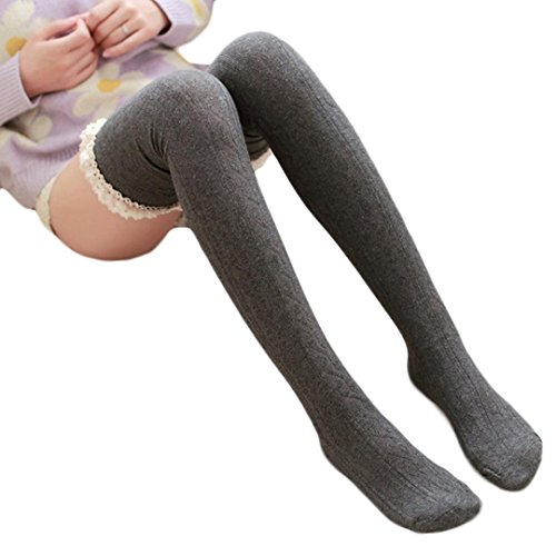 Sankuwen 1 Pair Knee Thigh Winter Soft Warm Lace Sock Legging (Dark Grey) (Thigh High Socks)