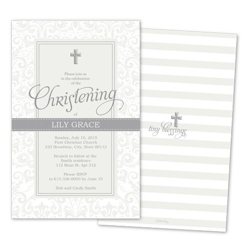 Silver Personalized Christening Invitations (Set of 10)