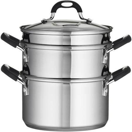 Tramontina 18//10 Stainless Steel 4-Piece 3-Quart Steamer//Double-Boiler