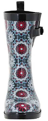 Floral York New Black Boot Rain Rubber Two Multi Calf Tone Mid Ladies Capelli A7awxq1Hq