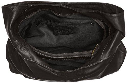 à éclair Noir dans Nero 41x55x12cm Italy sac main à fermeture bandoulière sac en in CTM la femme cuir véritable 100 Made q0FwHE