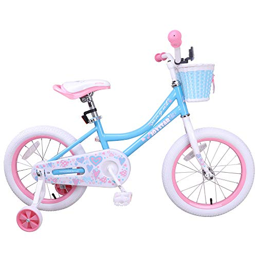 JOYSTAR Blue Kids Bike for Girls with Training Wheels & Basket for 4 5 6 7 Years Kids,Child Bicycle with Basket, Children Cycle, Blue