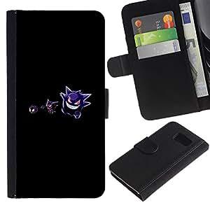 LECELL--Cuero de la tarjeta la carpeta del tirón Smartphone Slots Protección Holder For Samsung Galaxy S6 -- P0Kemons Evil --