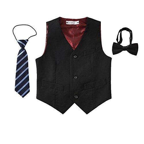 Yuanlu 3 Piece Slim Fit Tuxedo Vest for Boys Dress Wear with Bowtie and Tie Black Size 8 ()