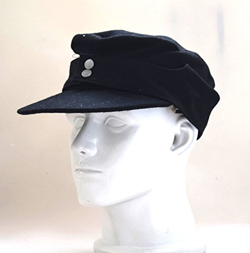 WWII German WH Elite EM M43 Panzer Wool Field Cap Hat Black (L(58cm))