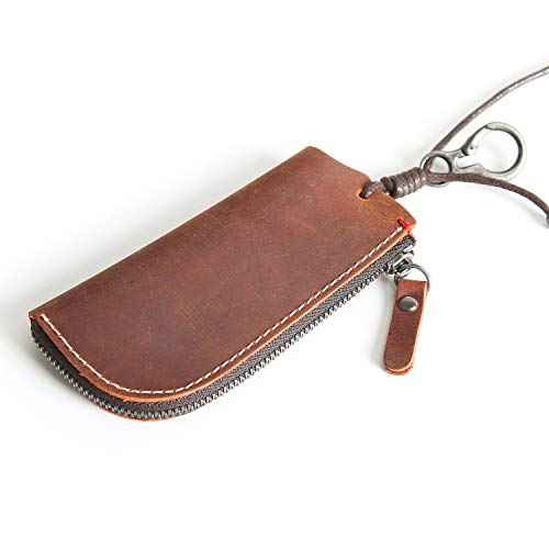 - Genuine Leather Car Key Case Wallet Key Holder Bag for Mens Womens Keychain (Crazy-Horse Leather Reddish brown)