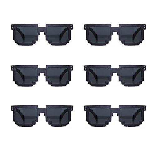 MJ Eyewear 8-bit Black Pixelated Sunglasses FREE POUCH (6 pack Black, - Bit 6 Sunglasses