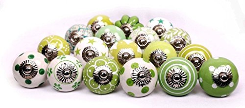 Glitknob 10 Knobs Green & White Hand Painted Ceramic Knobs Cabinet Drawer Pull