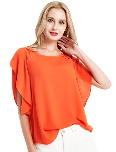 Basic Model Batwing Tops for Women Summer Casual Flutter Sleeve Blouses Crew Neck ()