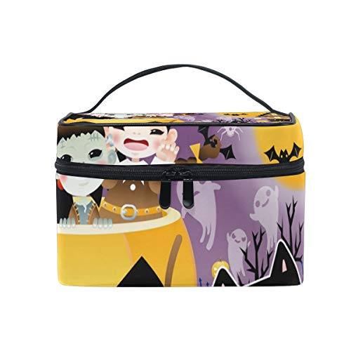 Makeup Organizer Halloween Background Design Womens Zip Toiletry Bag Large Case Cosmetic Bags]()
