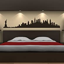 New York Skyline Wall Stickers Landmarks Wall Decal Art available in 5 Sizes and 25 Colours Large Silver Metallic
