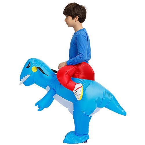 Inflatable Rider Costume Riding Me Fancy Dress Funny Dinosaur Unicorn Funny Suit Mount Kids Adult (Child(90-140CM), Blue) -
